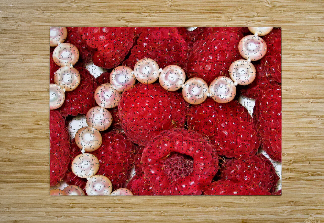 Raspberry pearls  HD Metal print with Floating Frame on Back