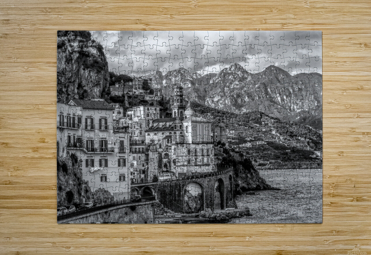 Black and White Landscape - Amalfi Coast - Italy  HD Metal print with Floating Frame on Back