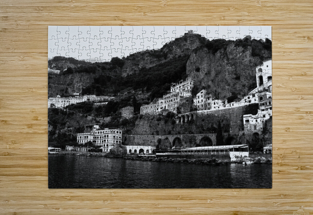 Amalfi Coast Black and White Landscape  HD Metal print with Floating Frame on Back