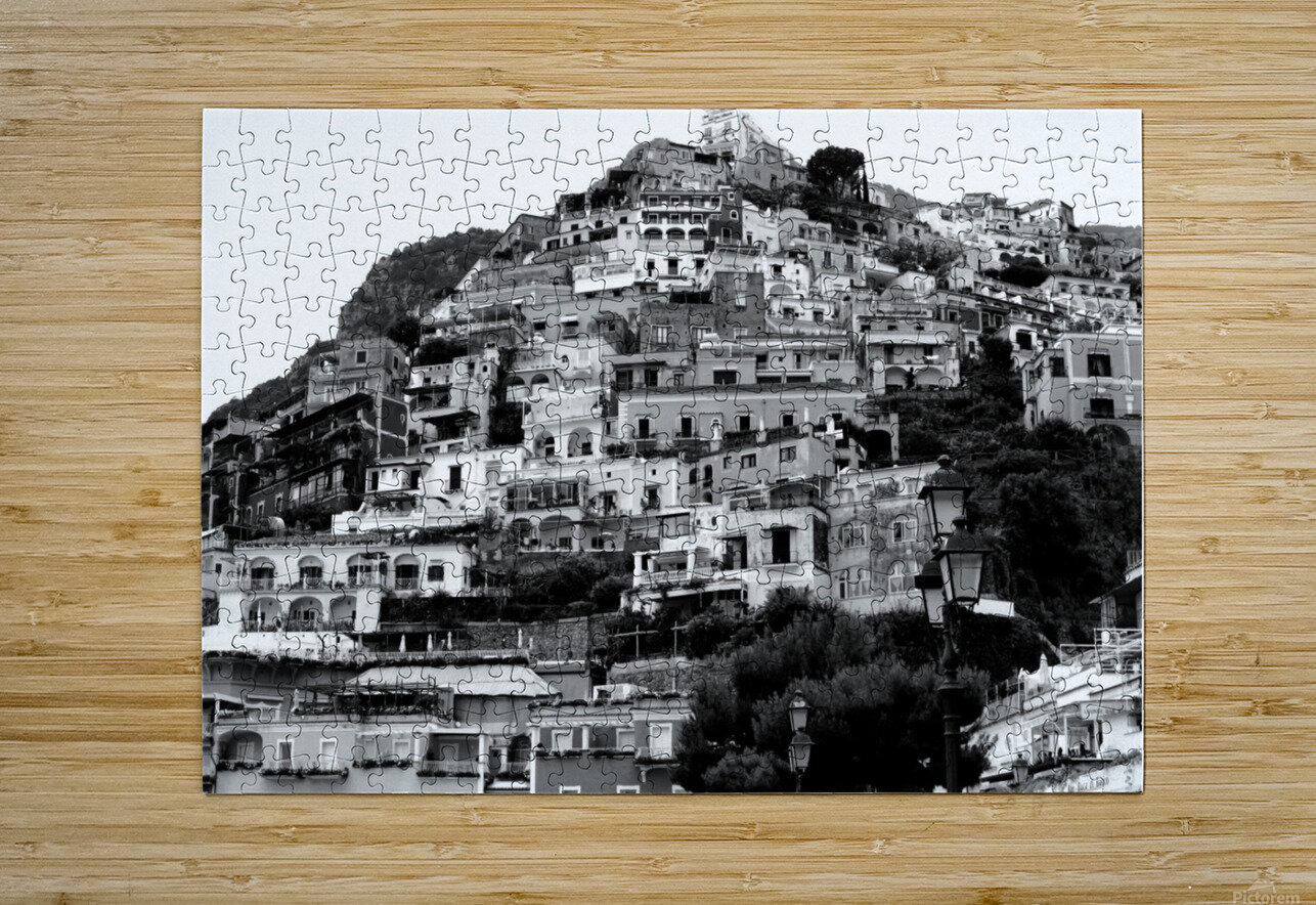 Black and White Landscape - Positano - Italy  HD Metal print with Floating Frame on Back