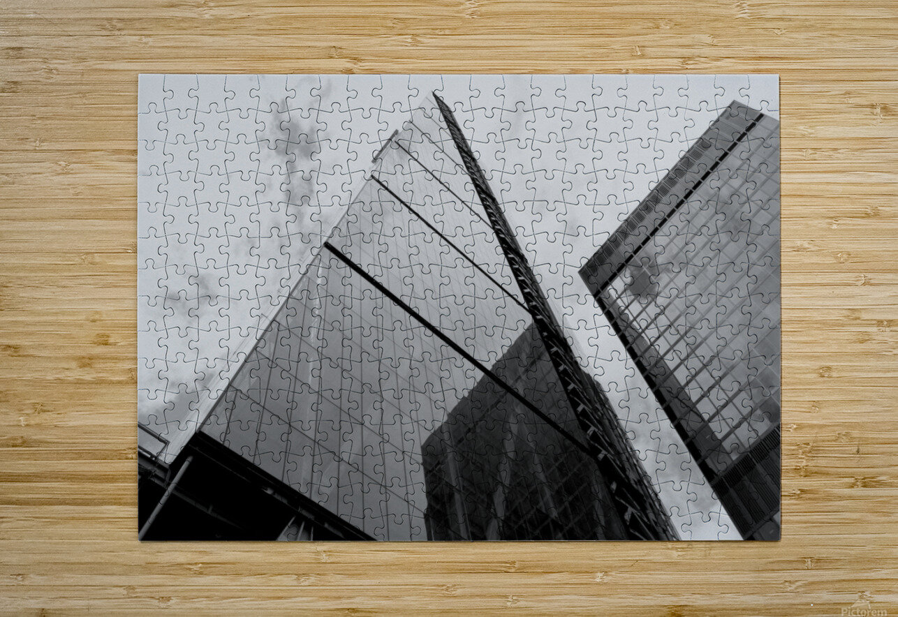 London Skyscraper III - Black and White  HD Metal print with Floating Frame on Back