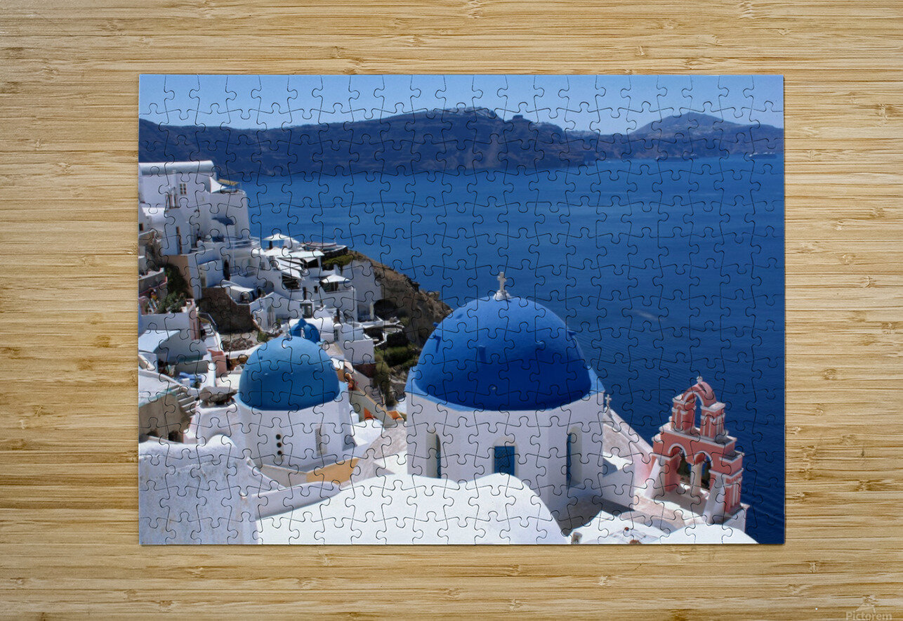 Amazing Santorini Landscape   HD Metal print with Floating Frame on Back
