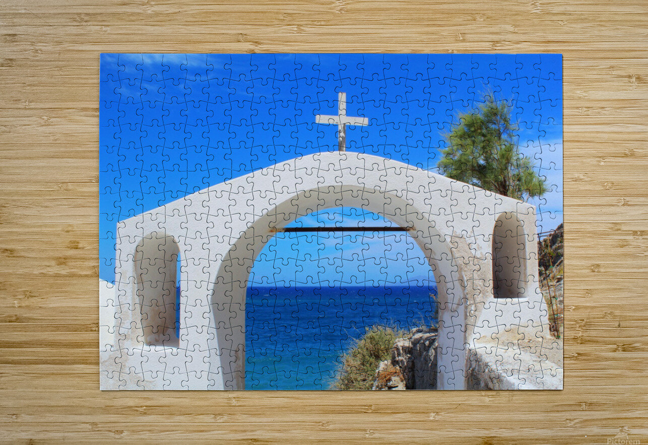 The Arch - Santorini Island  HD Metal print with Floating Frame on Back