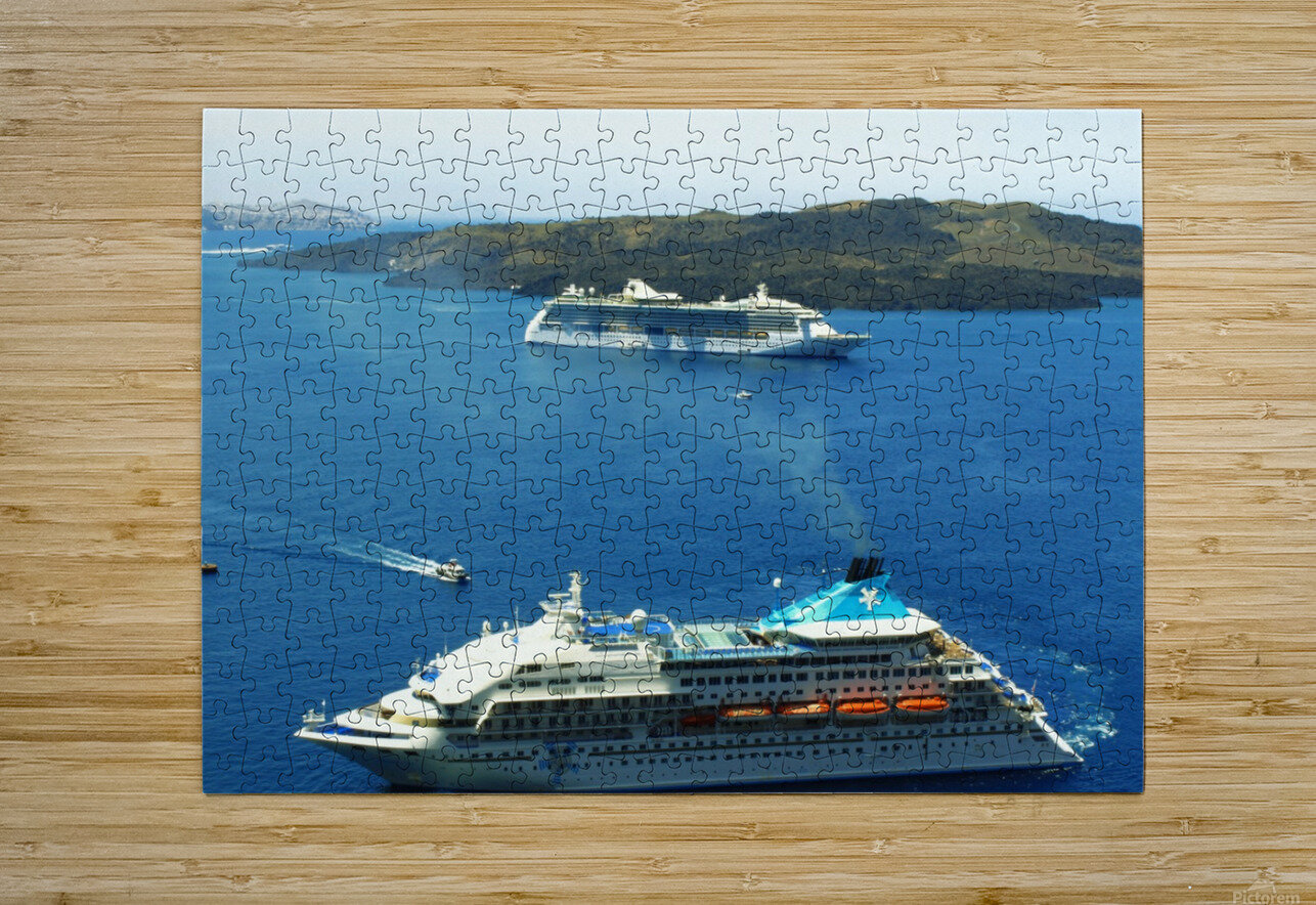 The Cruise Ship in the Blue Ocean  HD Metal print with Floating Frame on Back