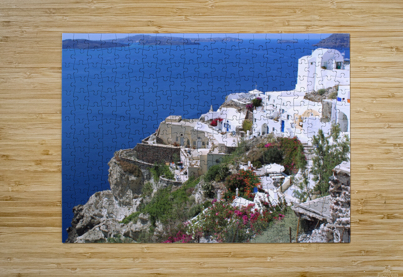 Colourful Santorini Landscape   HD Metal print with Floating Frame on Back