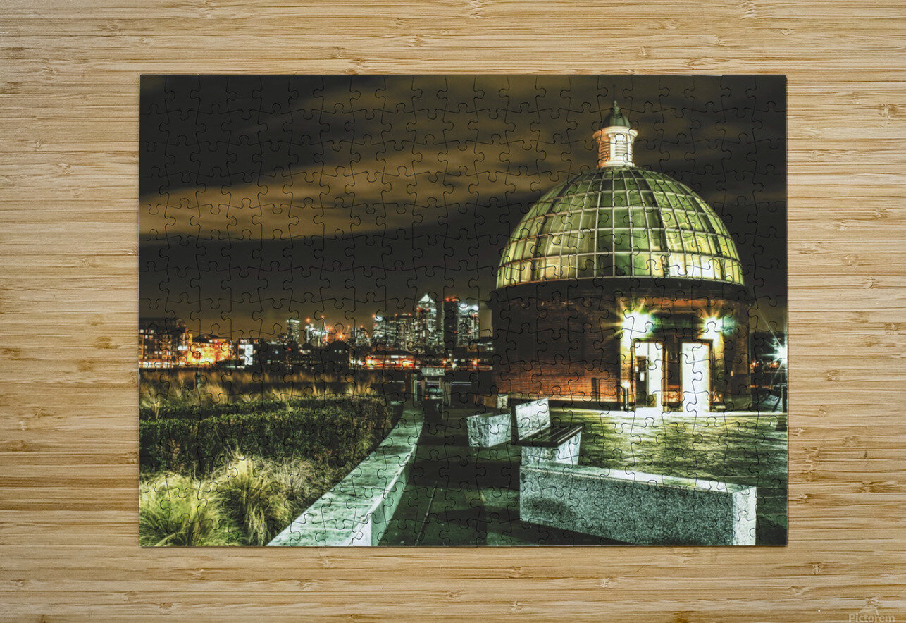 London Night skyline   HD Metal print with Floating Frame on Back
