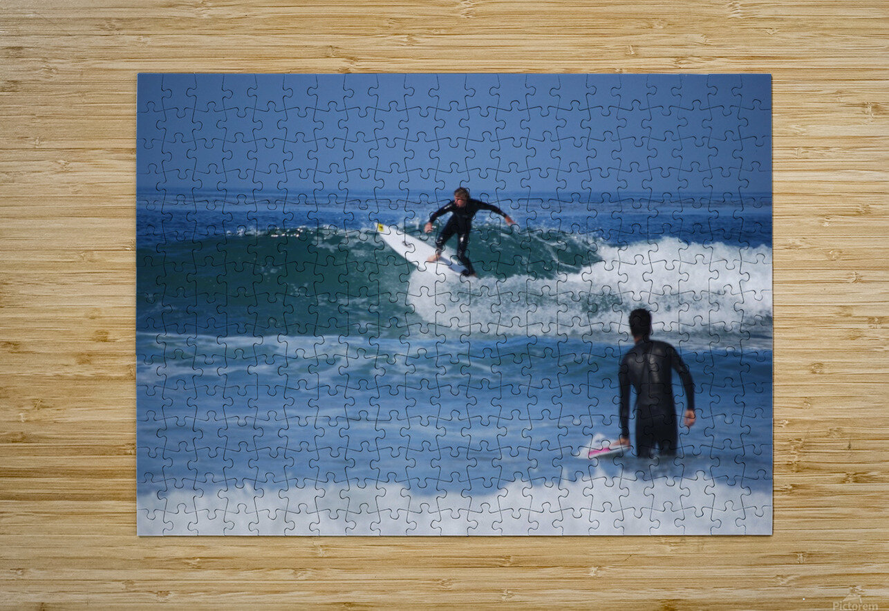 Guy Surfing In California  HD Metal print with Floating Frame on Back