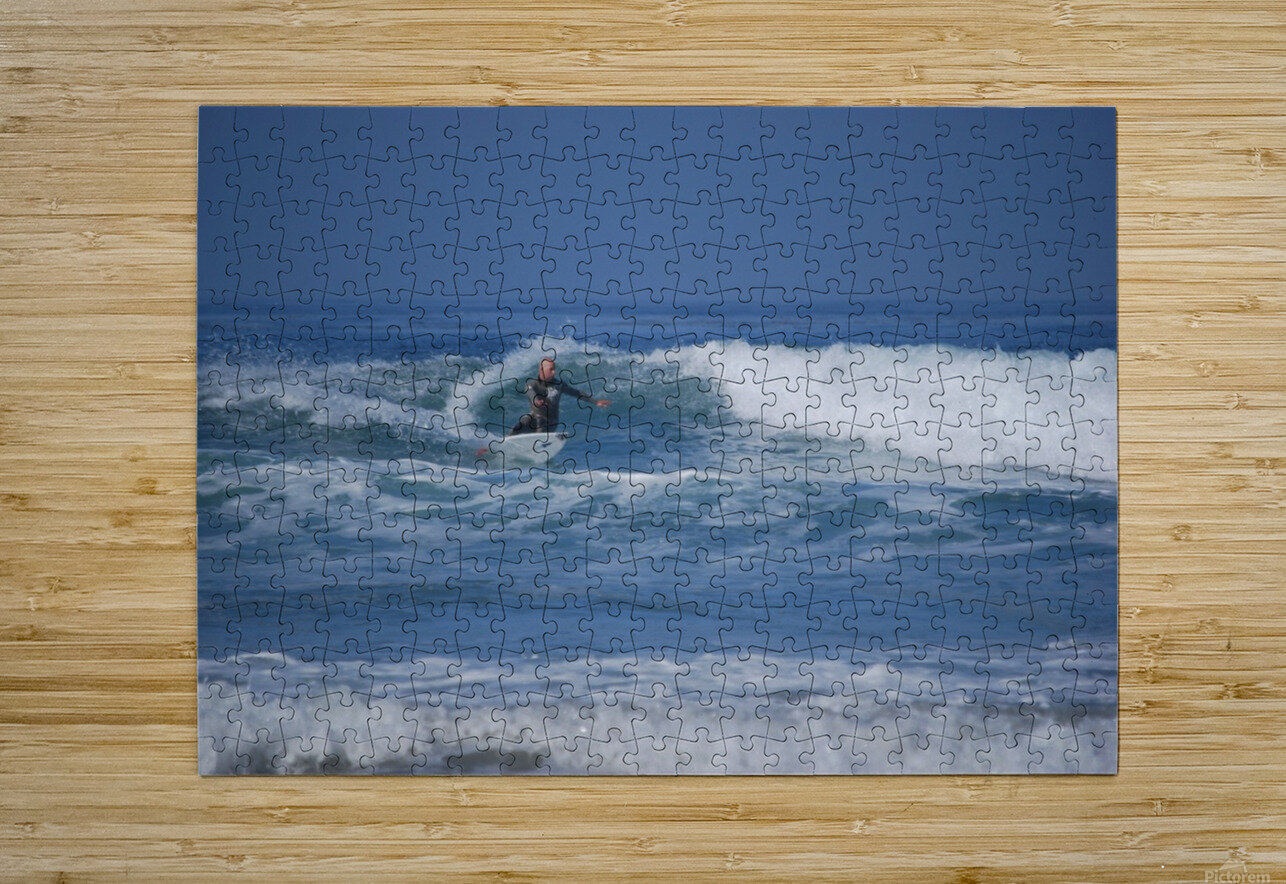 The Lone Surfer  HD Metal print with Floating Frame on Back