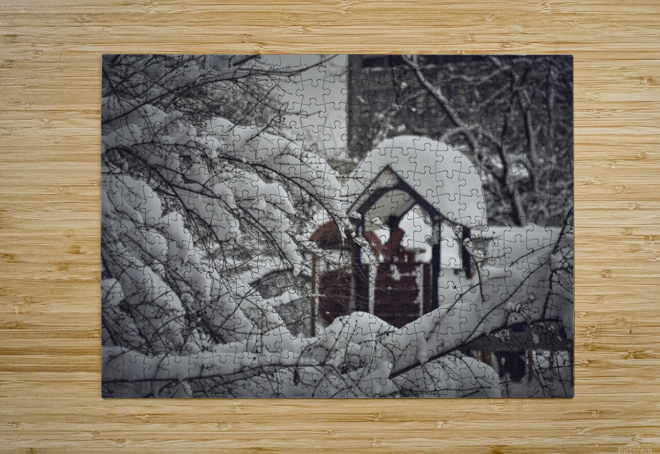 Red Playground Under Snow  HD Metal print with Floating Frame on Back