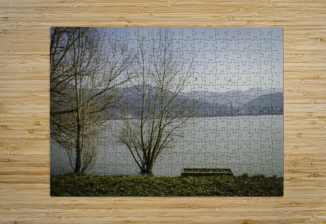 Spring at the River   HD Metal print with Floating Frame on Back