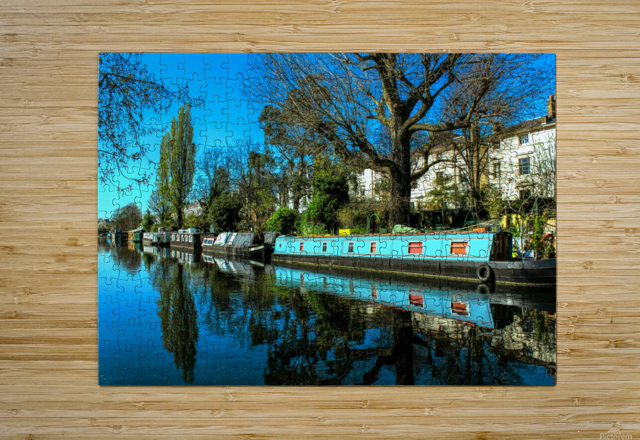 River and Boats - London   HD Metal print with Floating Frame on Back