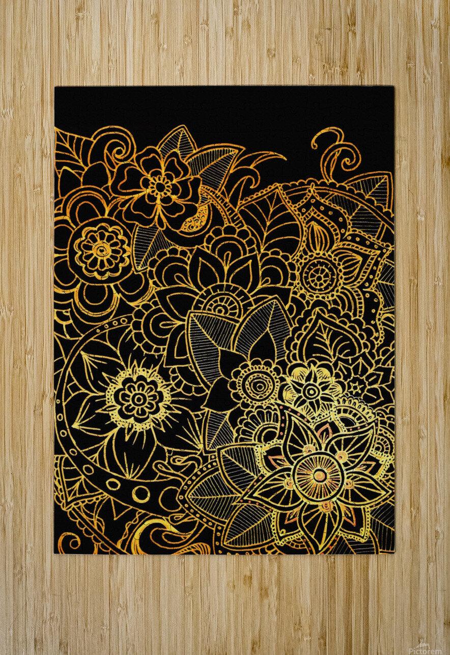 Floral Doodle Gold G523  HD Metal print with Floating Frame on Back