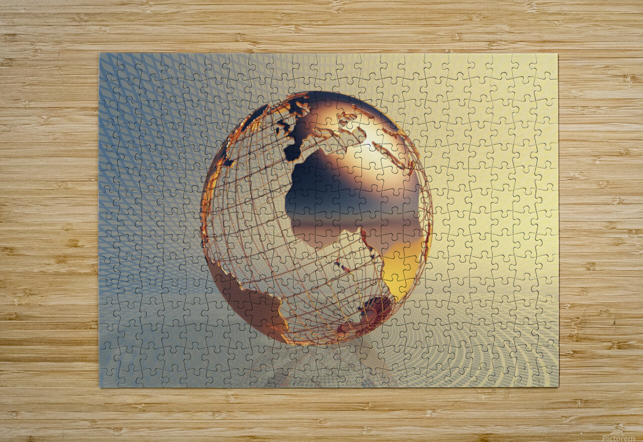 World global business background  HD Metal print with Floating Frame on Back