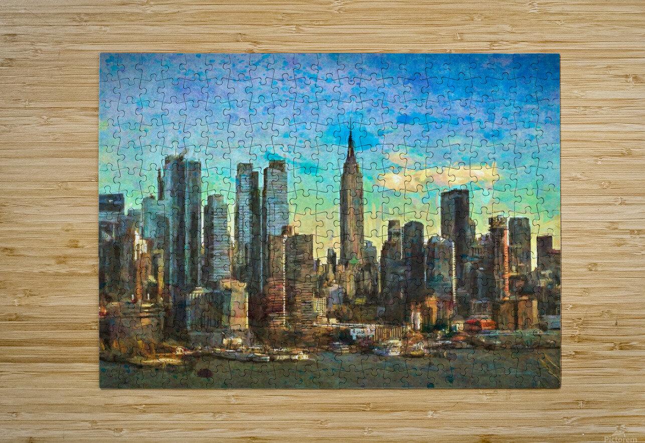 New York Skyline  HD Metal print with Floating Frame on Back