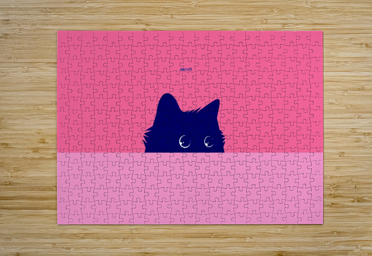 Cat on Deep Pink  HD Metal print with Floating Frame on Back