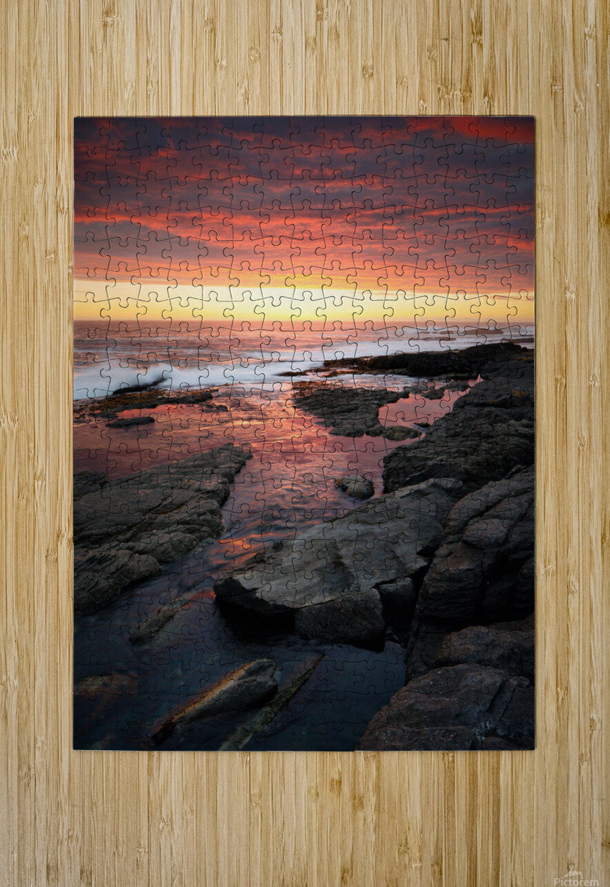 Sunset over rocky coastline  HD Metal print with Floating Frame on Back