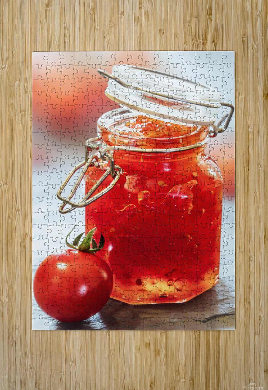 Tomato Jam in Glass Jar  HD Metal print with Floating Frame on Back
