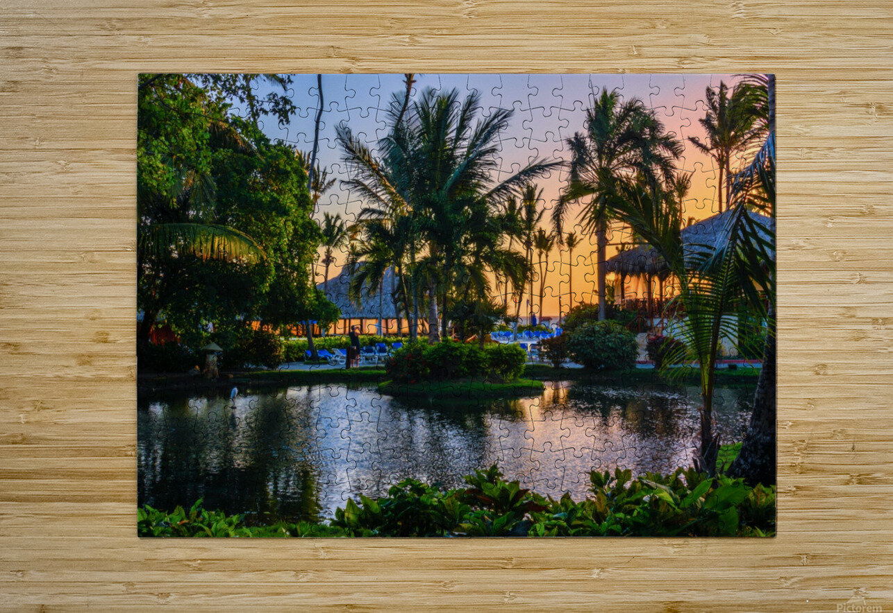 Multicolored tropical dawn with pond and palm trees, white pelican  HD Metal print with Floating Frame on Back