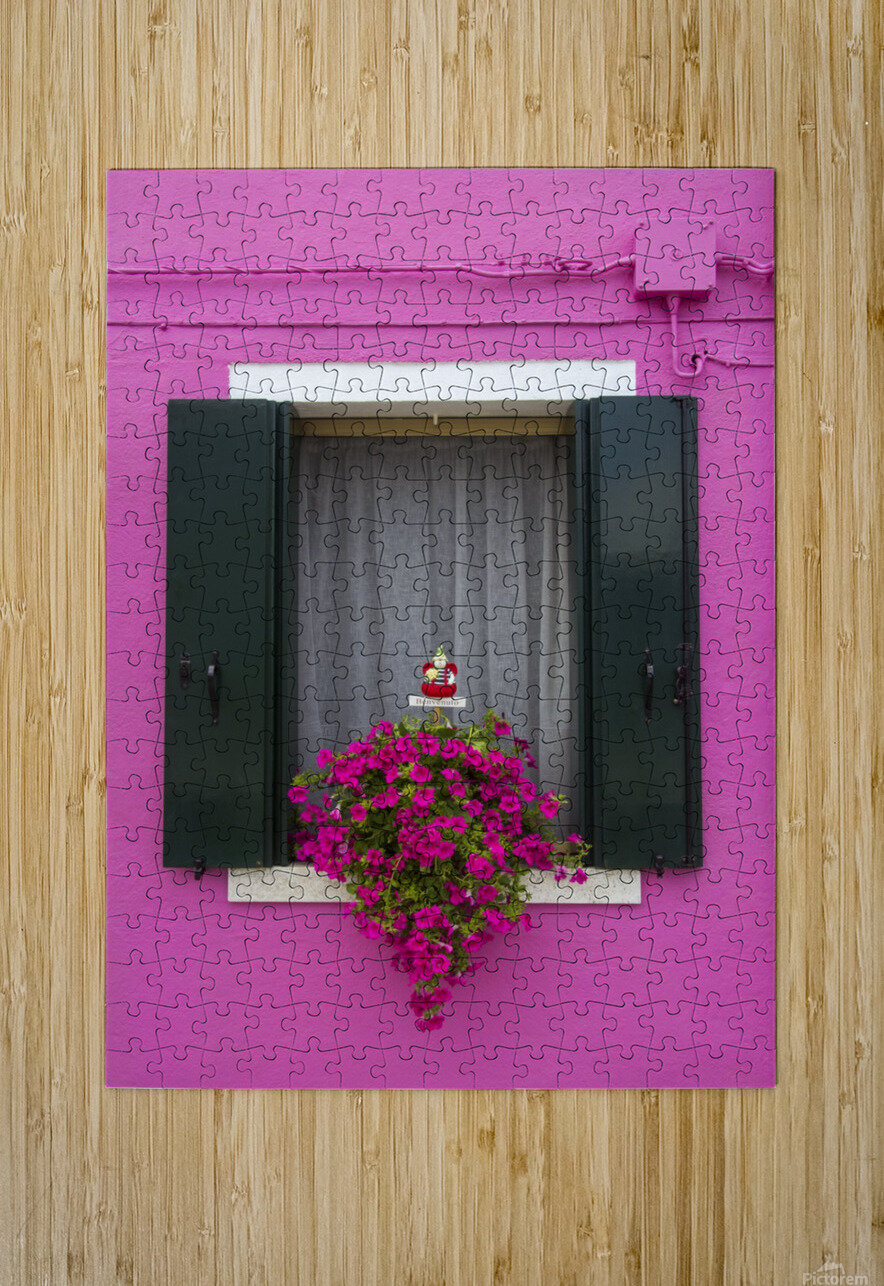 Colored window in Burano  HD Metal print with Floating Frame on Back