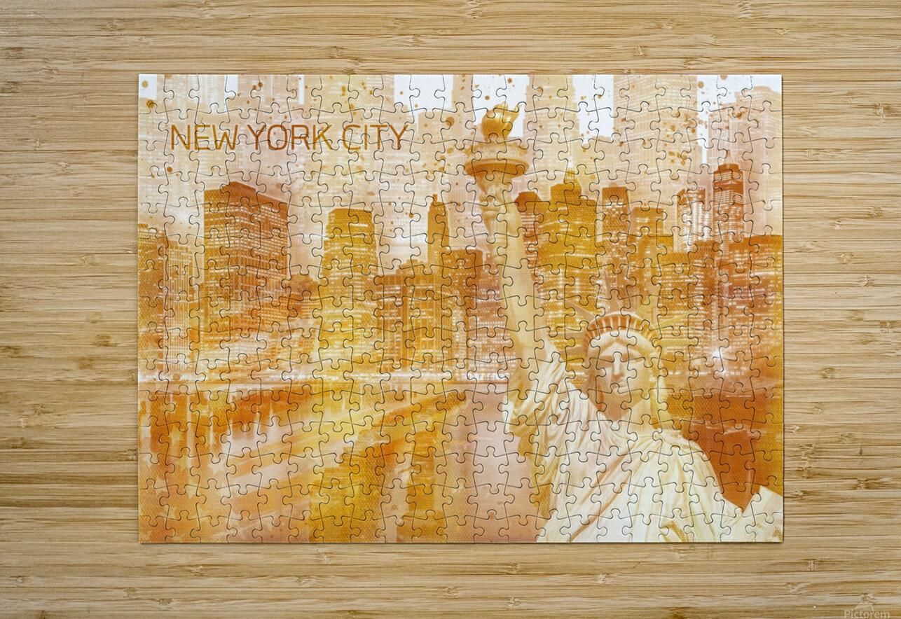 Graphic Art MANHATTAN Collage | golden  Impression métal HD avec cadre flottant sur le dos