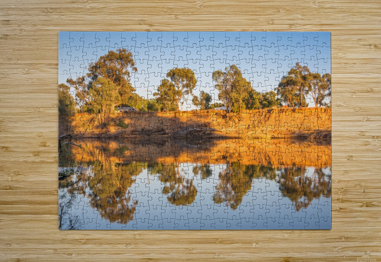 Tranquil river bank reflections at sunrise  HD Metal print with Floating Frame on Back