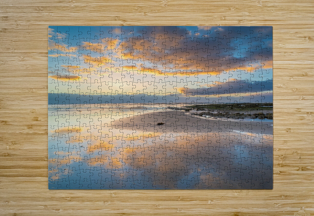 Beach sunrise reflected on the wet sand  HD Metal print with Floating Frame on Back