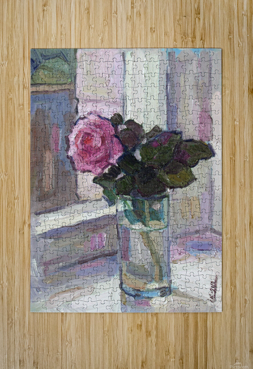 Rose in the Glass  HD Metal print with Floating Frame on Back