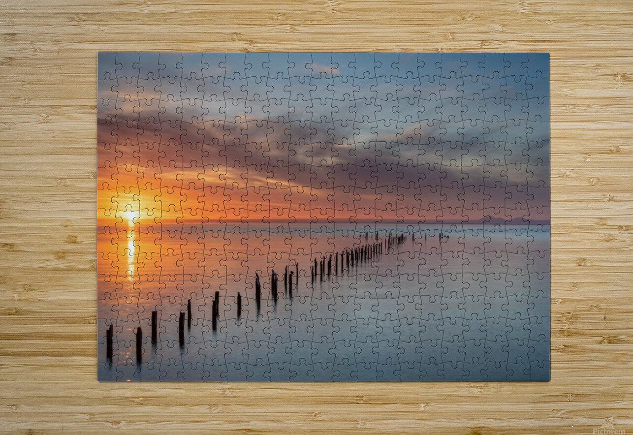 Sunset Pier  HD Metal print with Floating Frame on Back