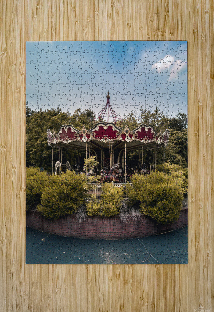 Abandoned Theme Park Merry Go Round  HD Metal print with Floating Frame on Back