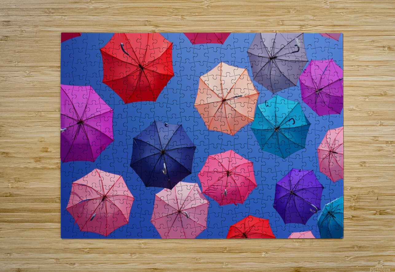 Colorful umbrella  HD Metal print with Floating Frame on Back