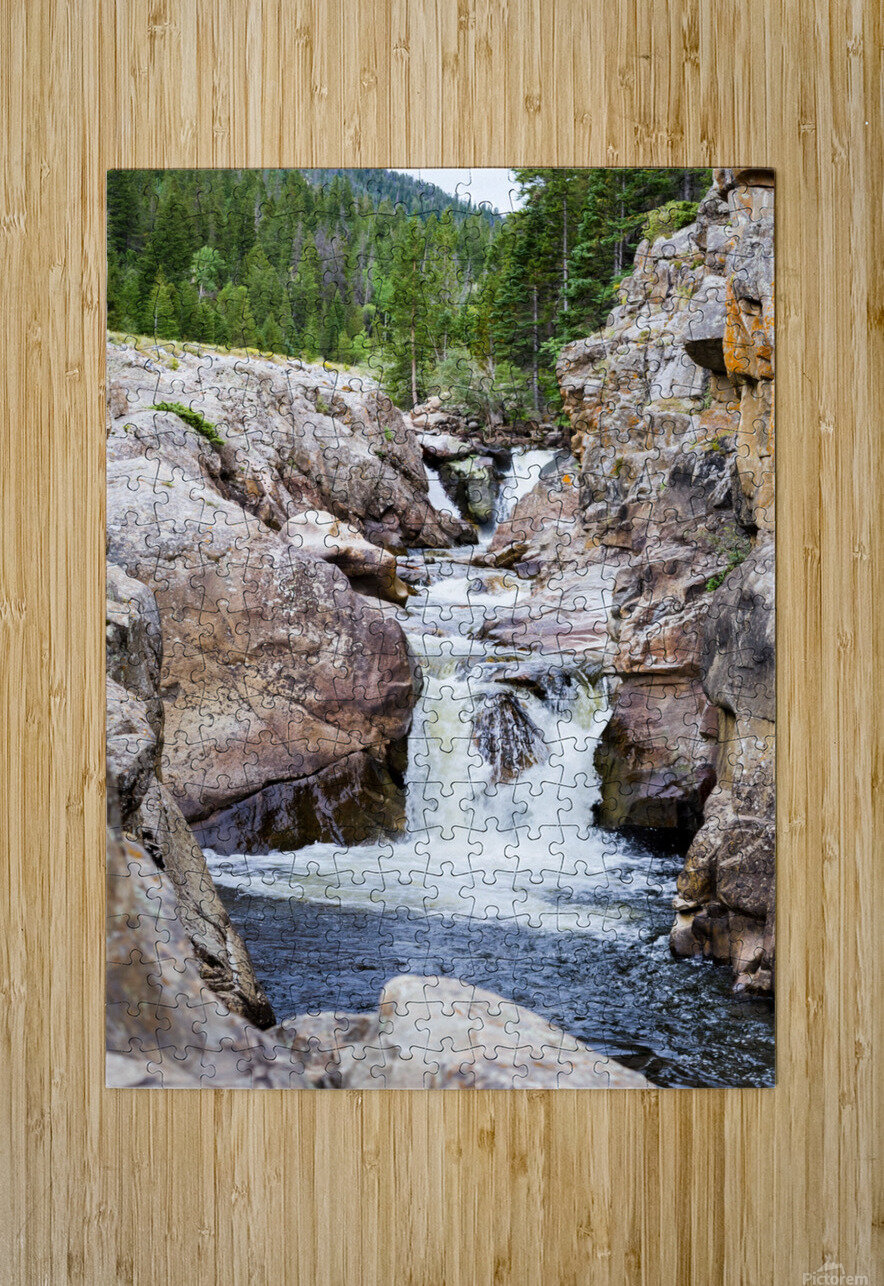 Colorado Waterfall  -  Poudre River   HD Metal print with Floating Frame on Back