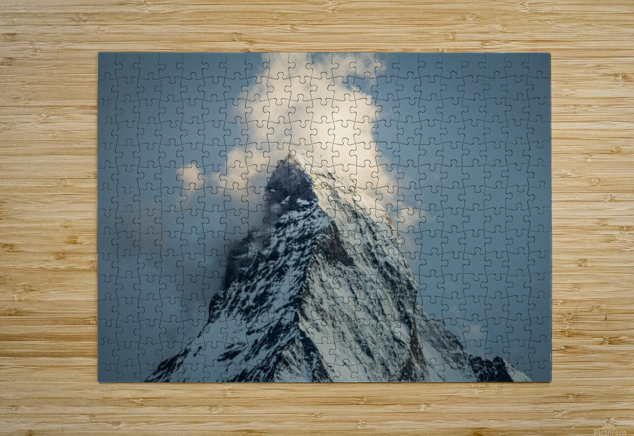 Matterhorn Glow Blue  HD Metal print with Floating Frame on Back