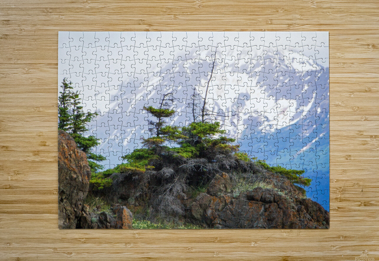 Alaska Scenery Pictures - Cliffs and Mountains  HD Metal print with Floating Frame on Back