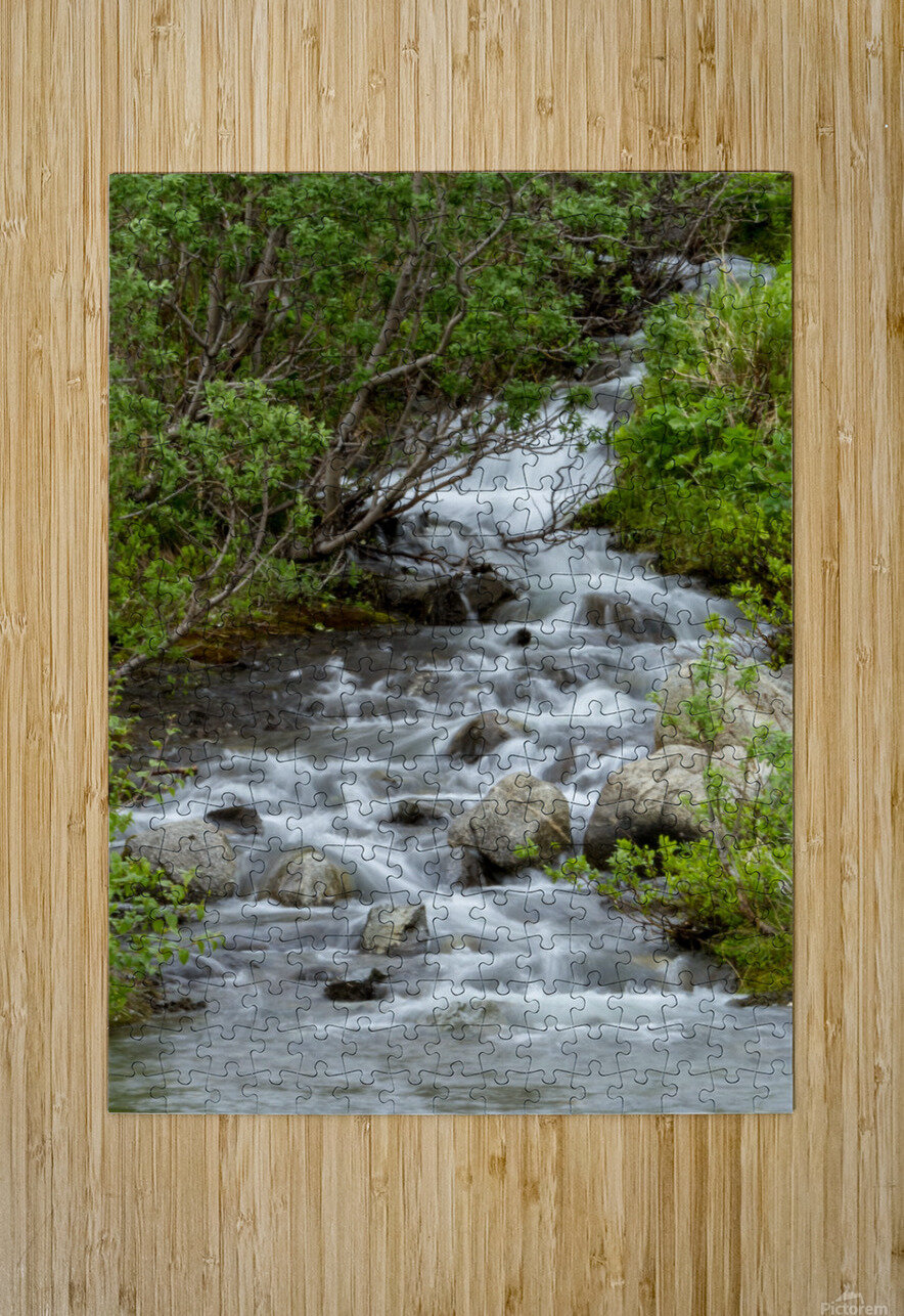 Beautiful Waterfall Picture in Alaska  HD Metal print with Floating Frame on Back