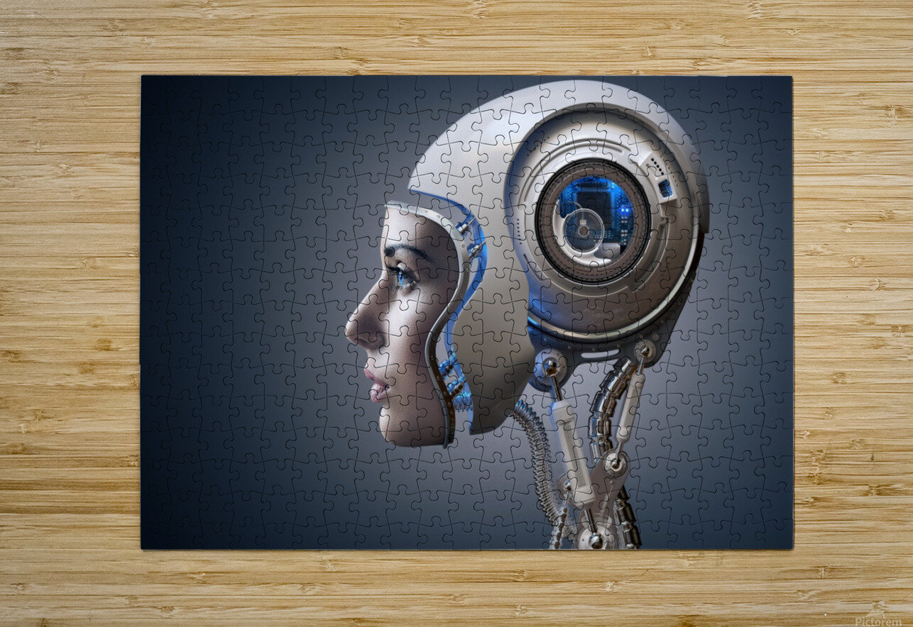 Next Generation Cyborg  HD Metal print with Floating Frame on Back