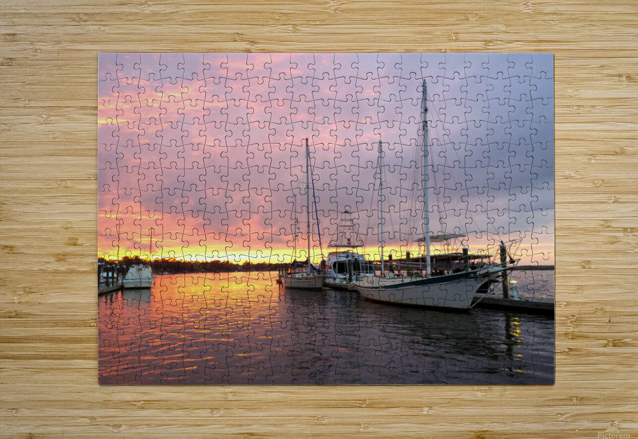 Sunset Sailboat 2  HD Metal print with Floating Frame on Back