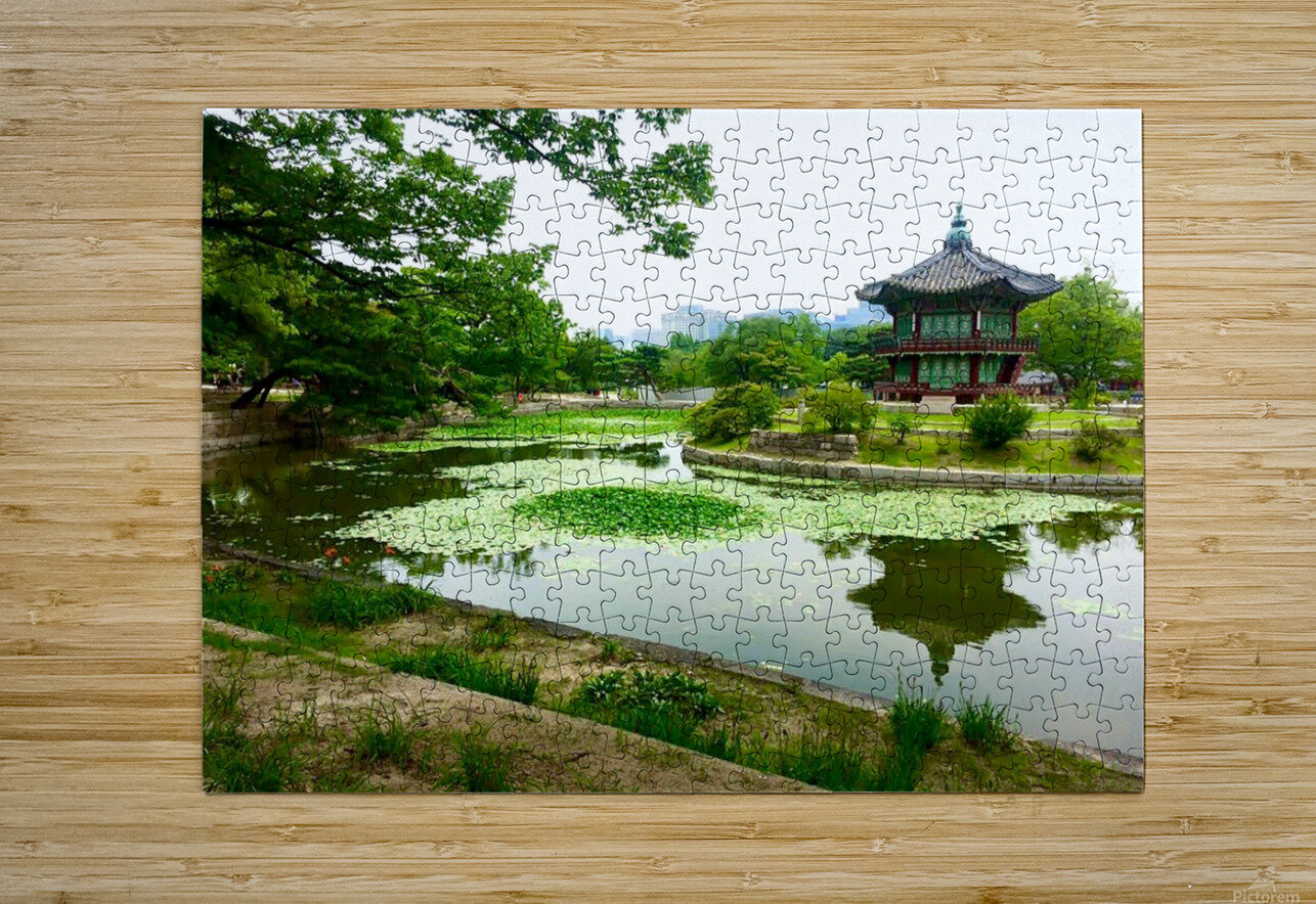 Korean Temple  HD Metal print with Floating Frame on Back