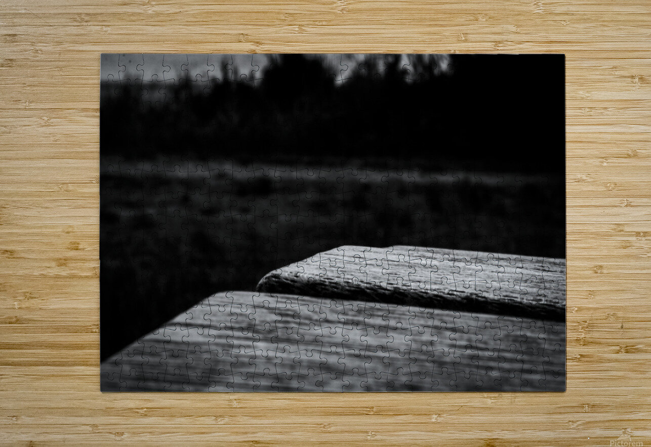 Wooden Bench At The Sea  HD Metal print with Floating Frame on Back