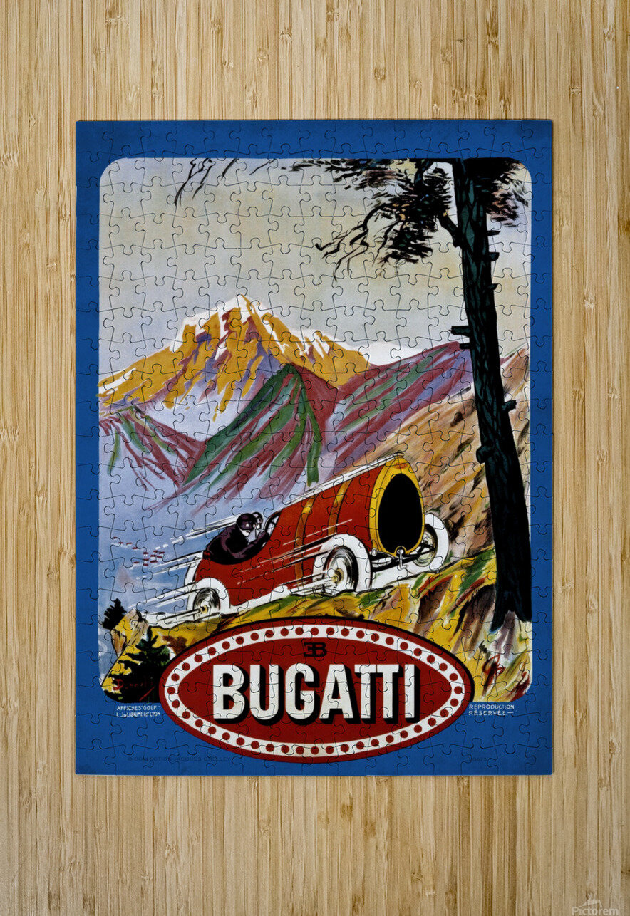 Bugatti Type 9 Prince Henri Affiche Golf Lyon 1911  HD Metal print with Floating Frame on Back