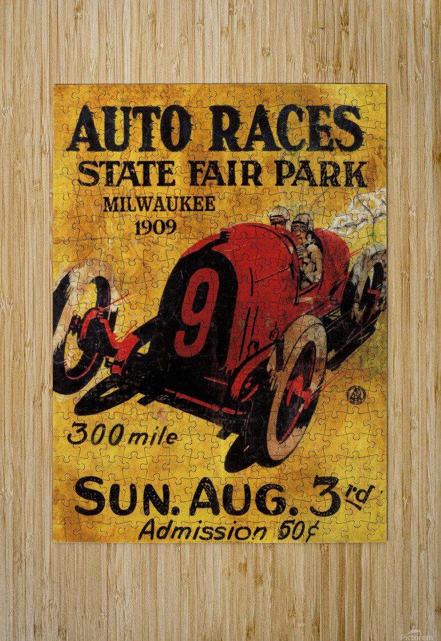 Milwaukee 300 Mile Auto Races State Fair Park 1909  HD Metal print with Floating Frame on Back