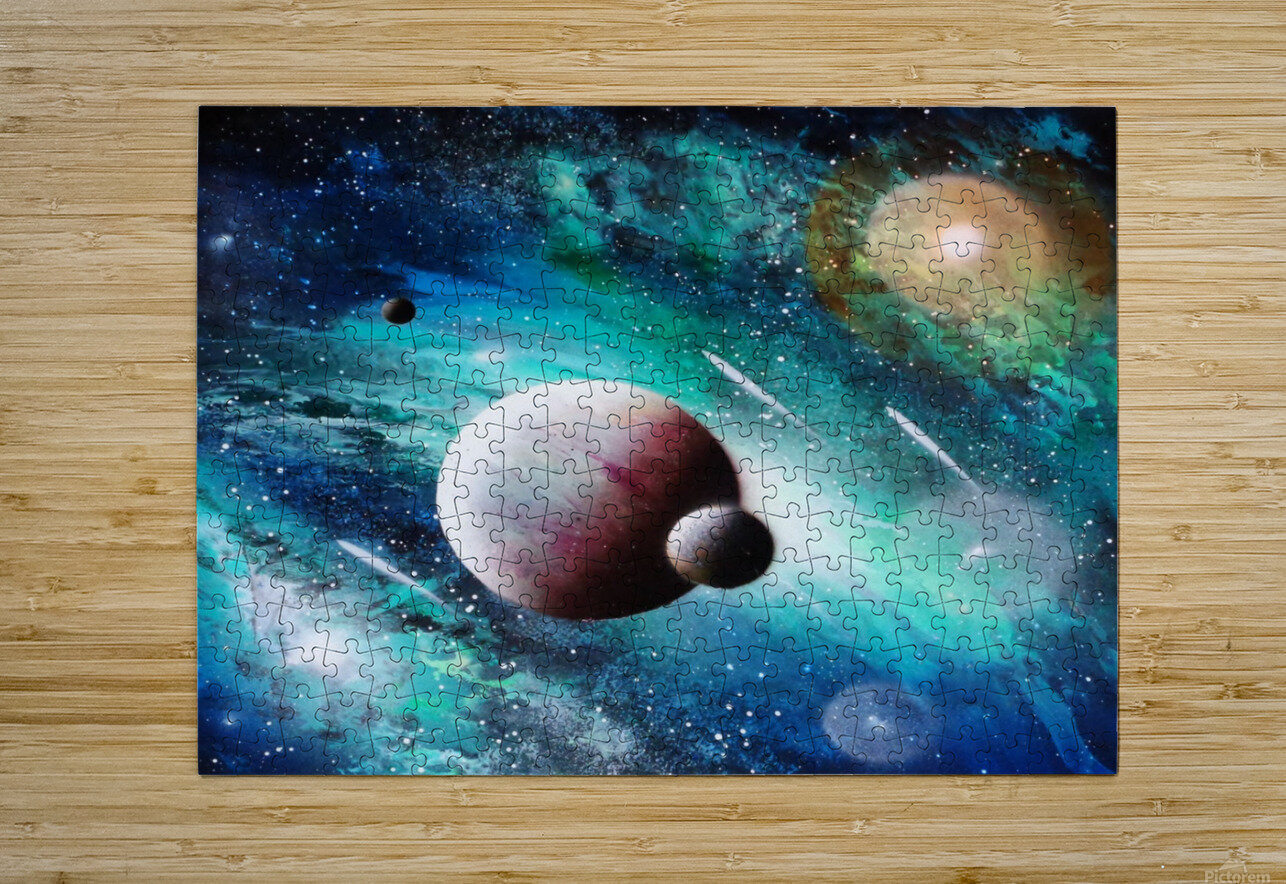 Blue maroon galaxy  HD Metal print with Floating Frame on Back