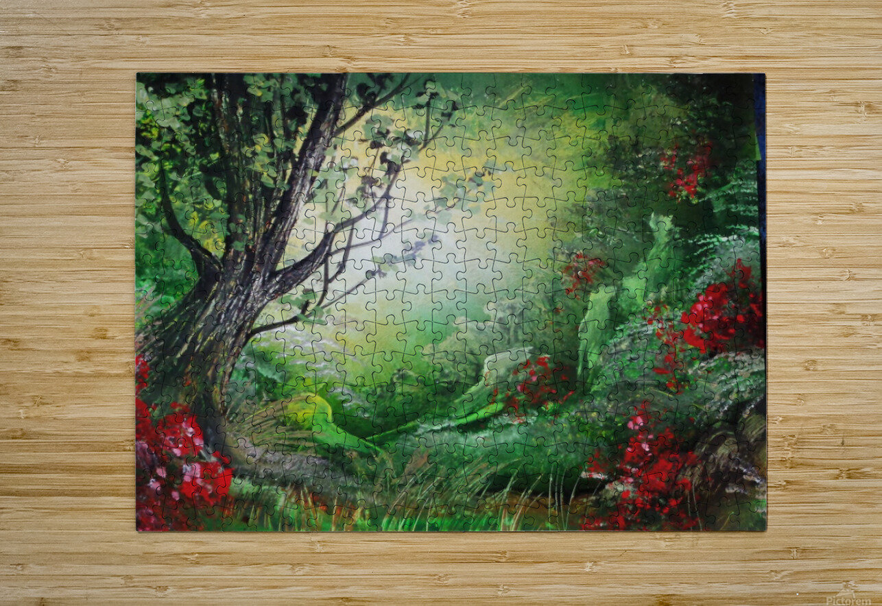 Green forest  HD Metal print with Floating Frame on Back