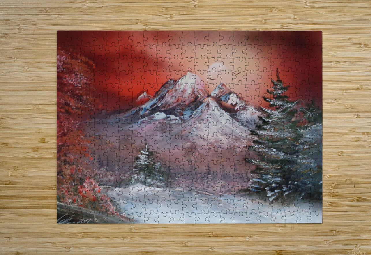 Winter sunset  HD Metal print with Floating Frame on Back