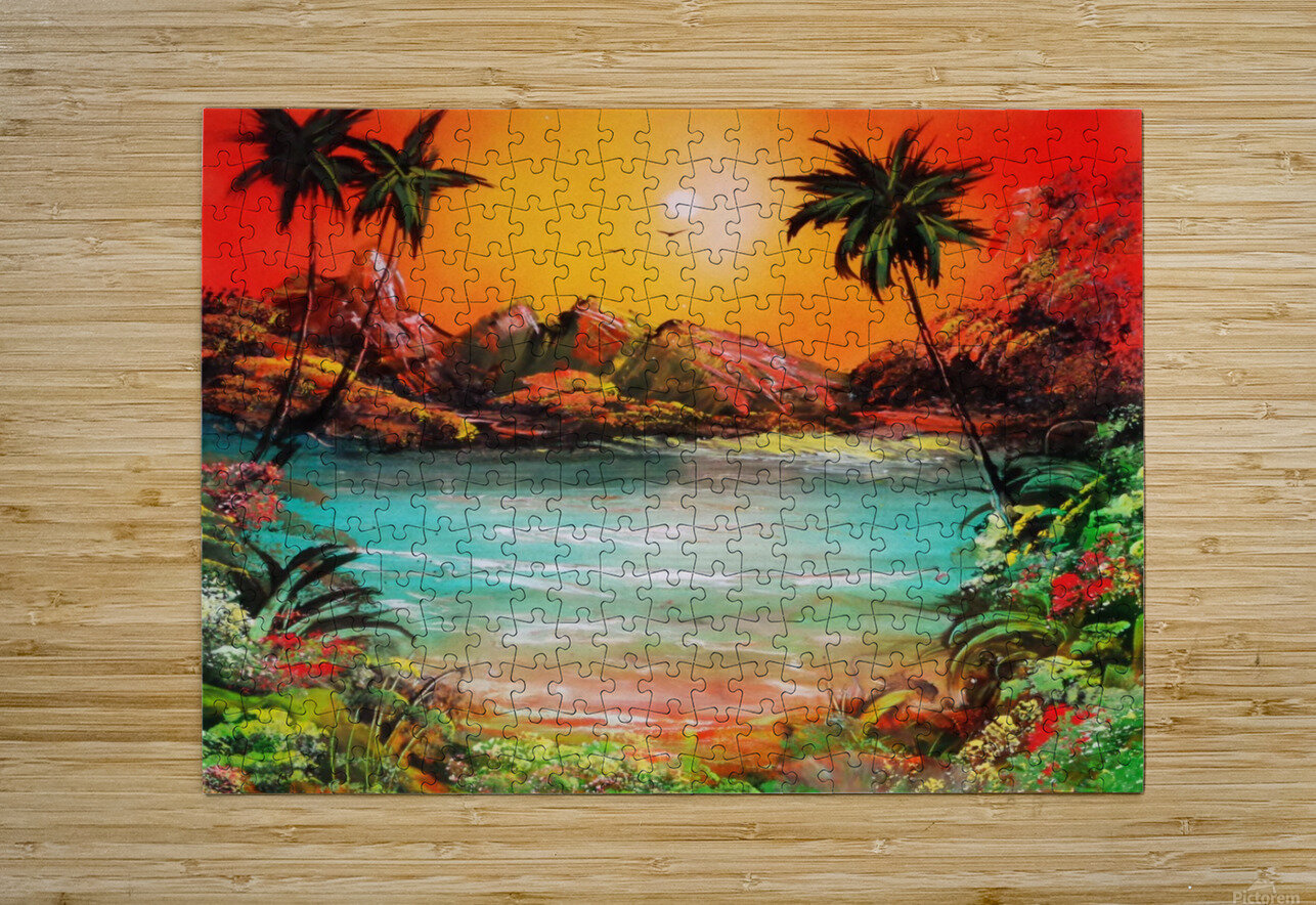 Jungle beach  HD Metal print with Floating Frame on Back