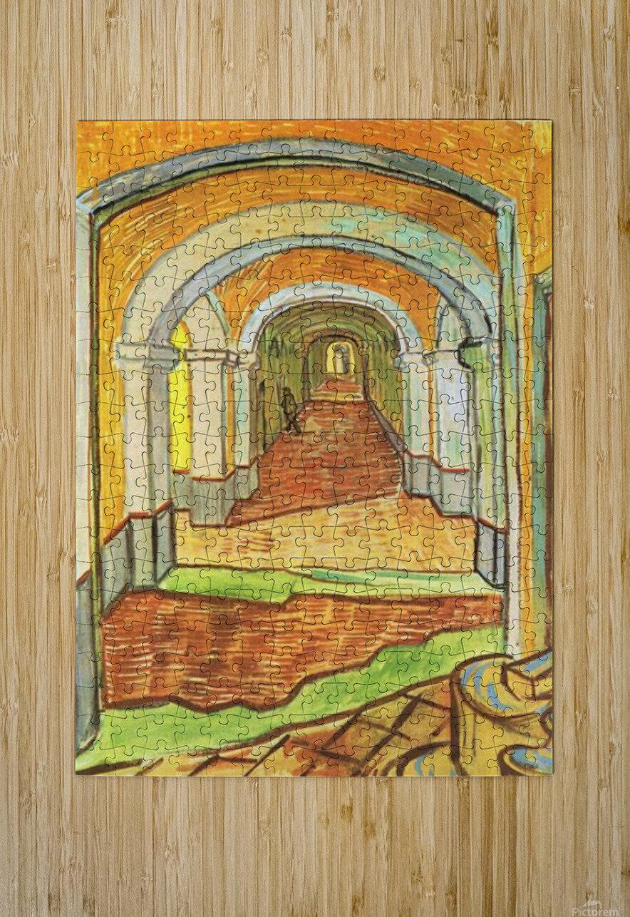 Corridor in Saint-Paul Hospital by Van Gogh  HD Metal print with Floating Frame on Back