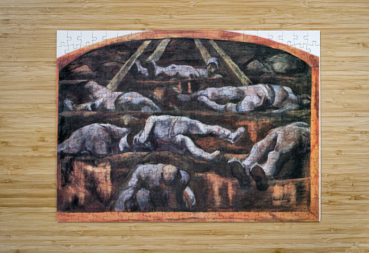 Dead victims, design (II) by Albin Egger-Lienz  HD Metal print with Floating Frame on Back