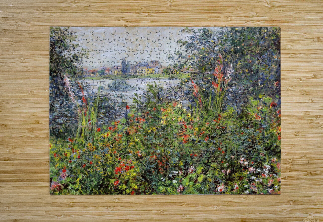 Flowers at Vetheuil  HD Metal print with Floating Frame on Back