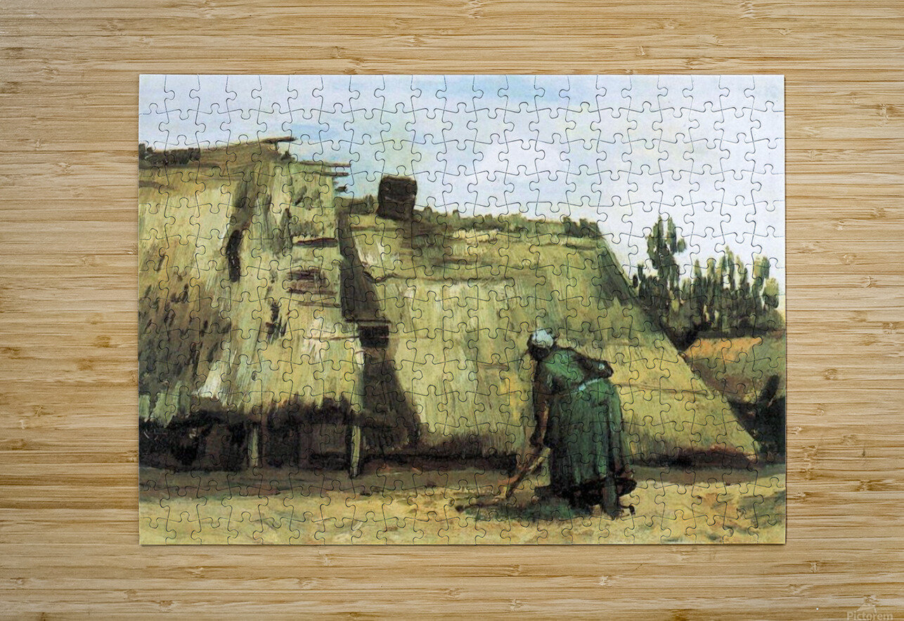 Farmhouse with farmer digging by Van Gogh  HD Metal print with Floating Frame on Back