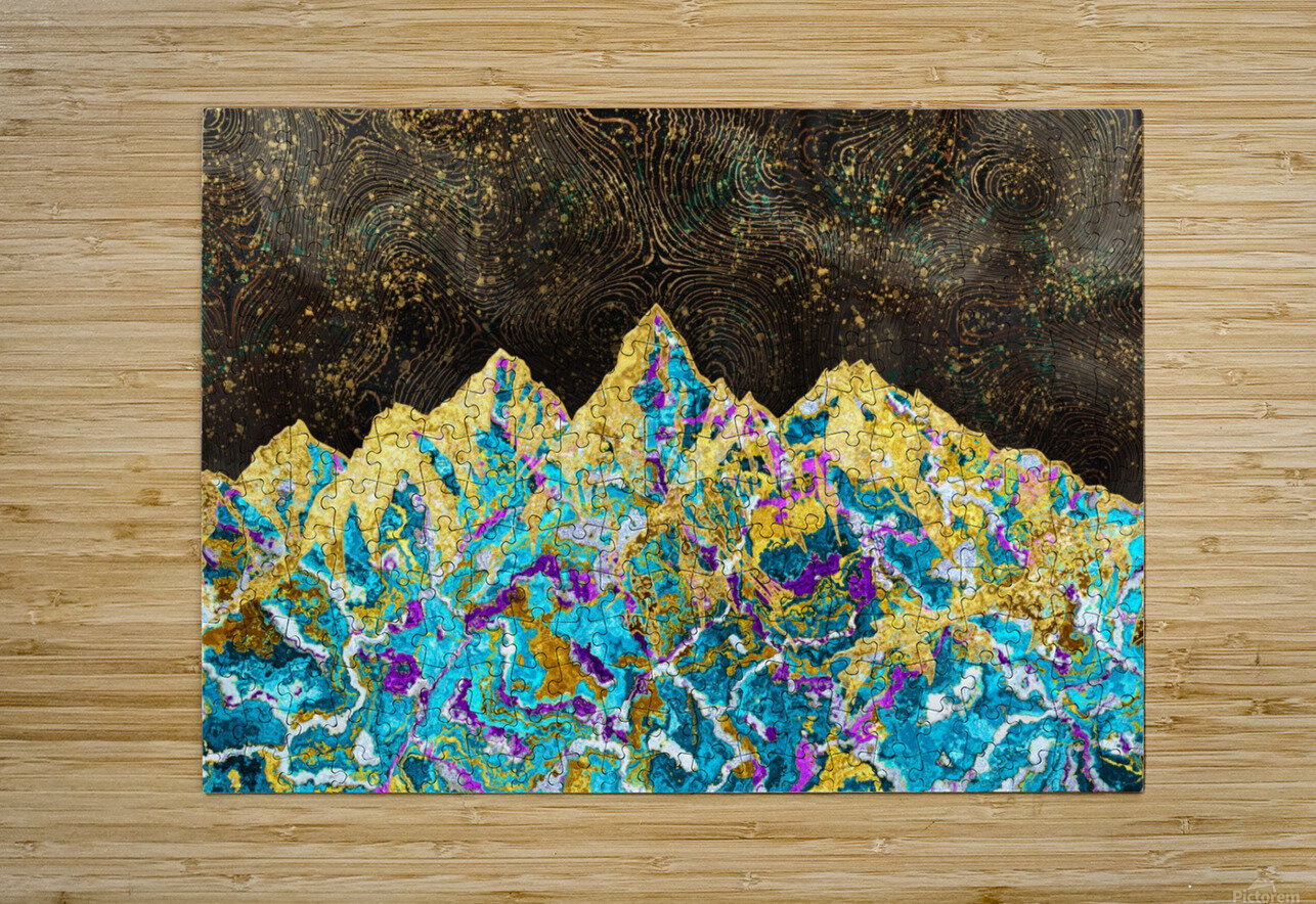 Gold Turquoise Mountain - Illustration I  HD Metal print with Floating Frame on Back