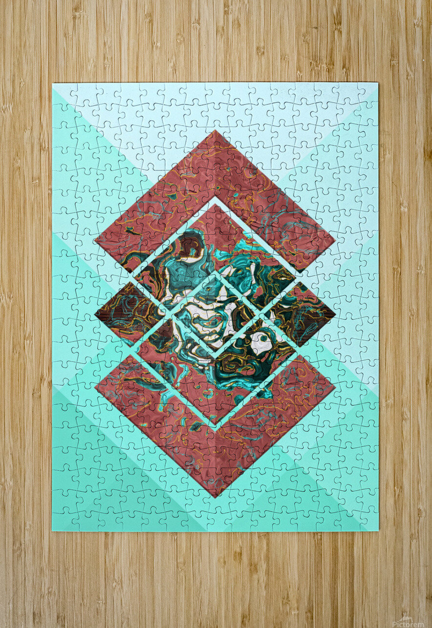 Geometric XX  HD Metal print with Floating Frame on Back
